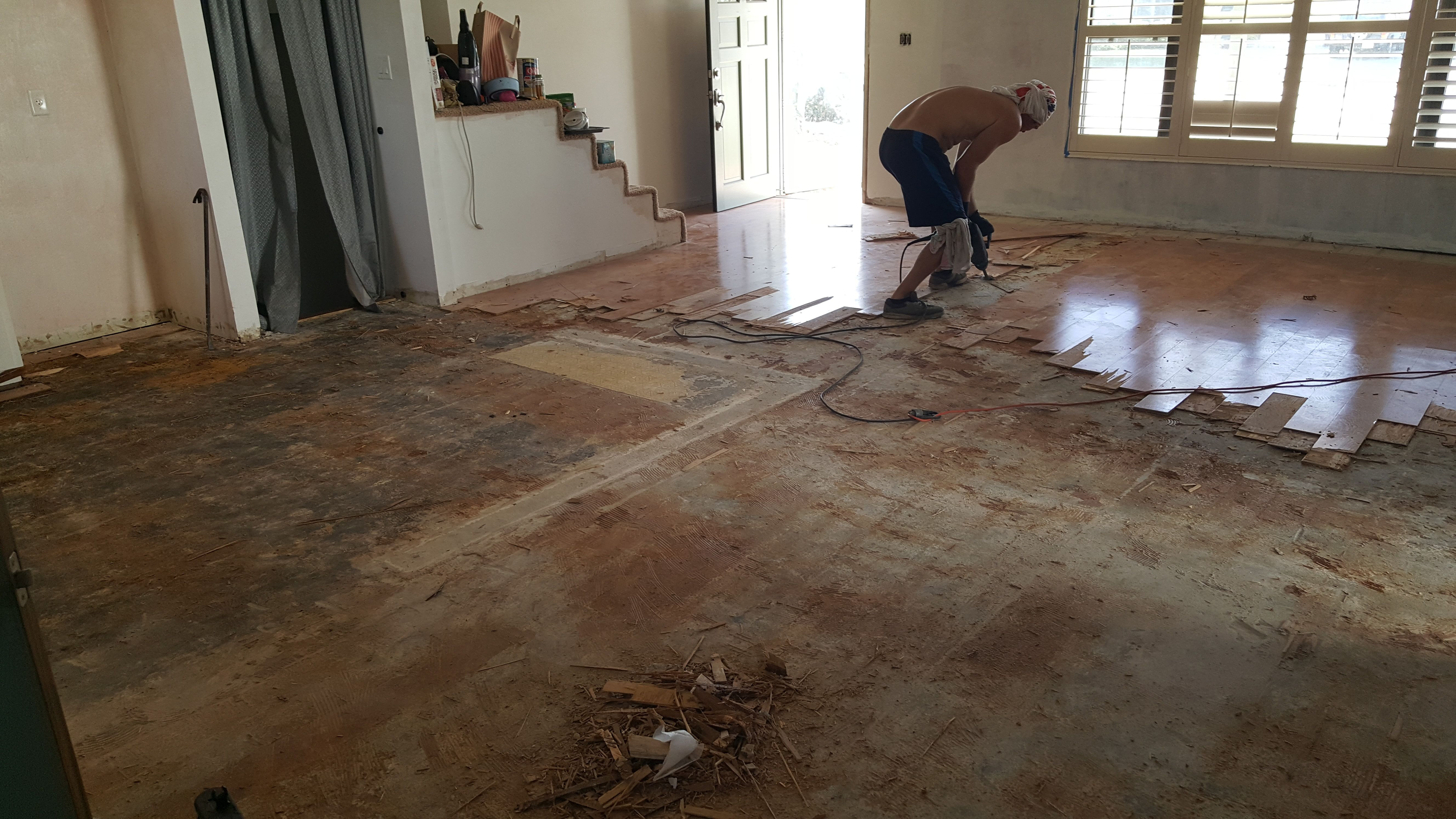 Using A Makita Demolition Hammer And Floor Scraper To Remove Glue Down Engineered Wood Flooring Engineered Wood Floors Flooring How To Remove Glue