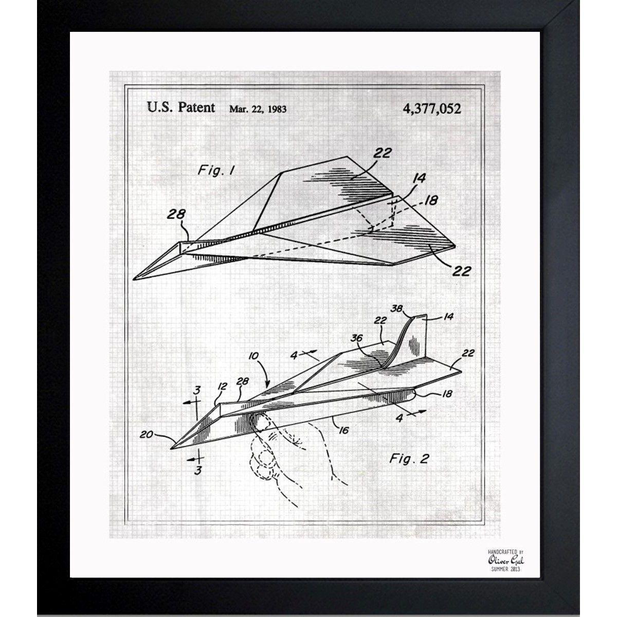 Oliver gal folded paper airplane 1983 framed blueprint art oliver gal folded paper airplane 1983 framed blueprint art malvernweather Choice Image