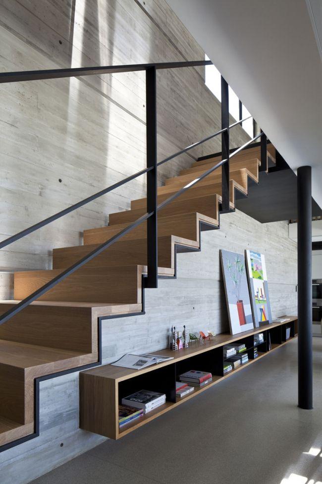 D coration int rieure en b ton brut acier et bois - Escalier contemporain beton ...