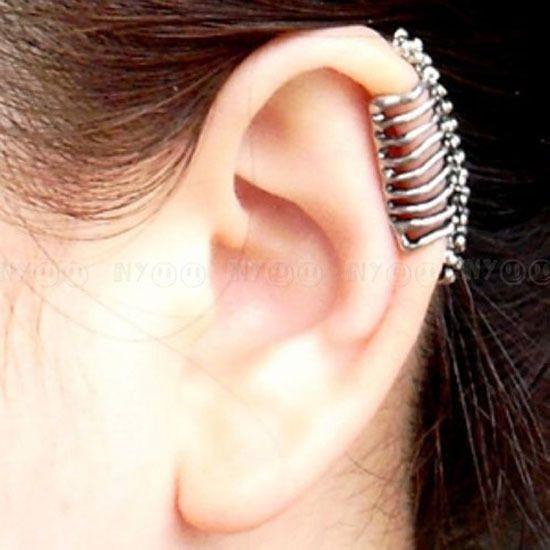 595038422 Bronze Retro Vintage Vertebra Backbone Ear Bone Skull Clip Non Piercing  Earring