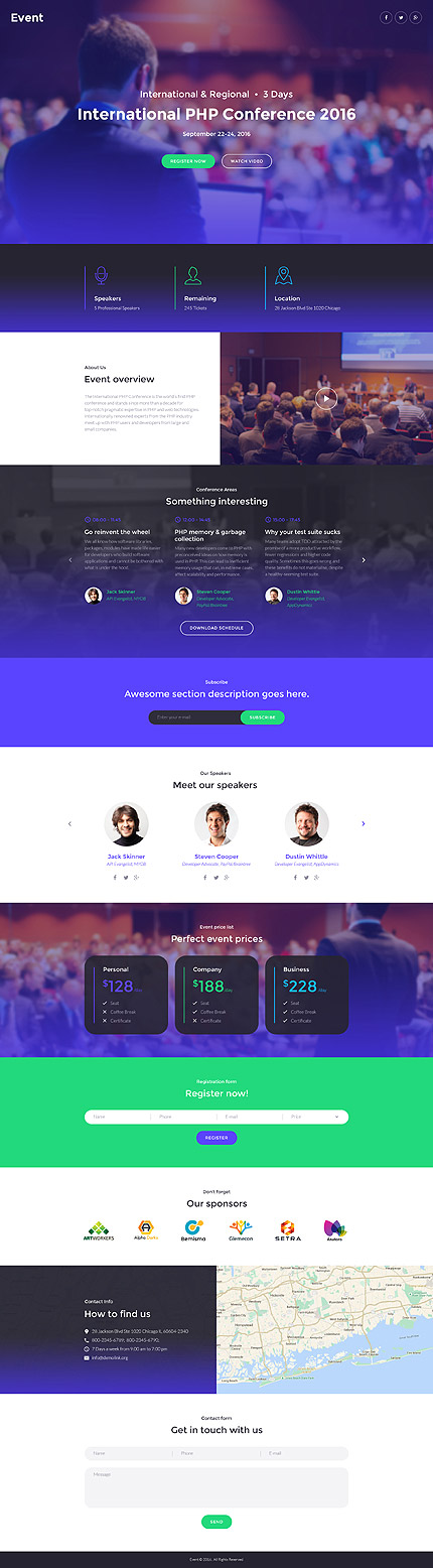 Template 58491 - Event International  Responsive Landing Page Template
