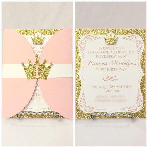 Rosa Oro Princesa Cumpleaños Invitaciones Og Sofia Nombre