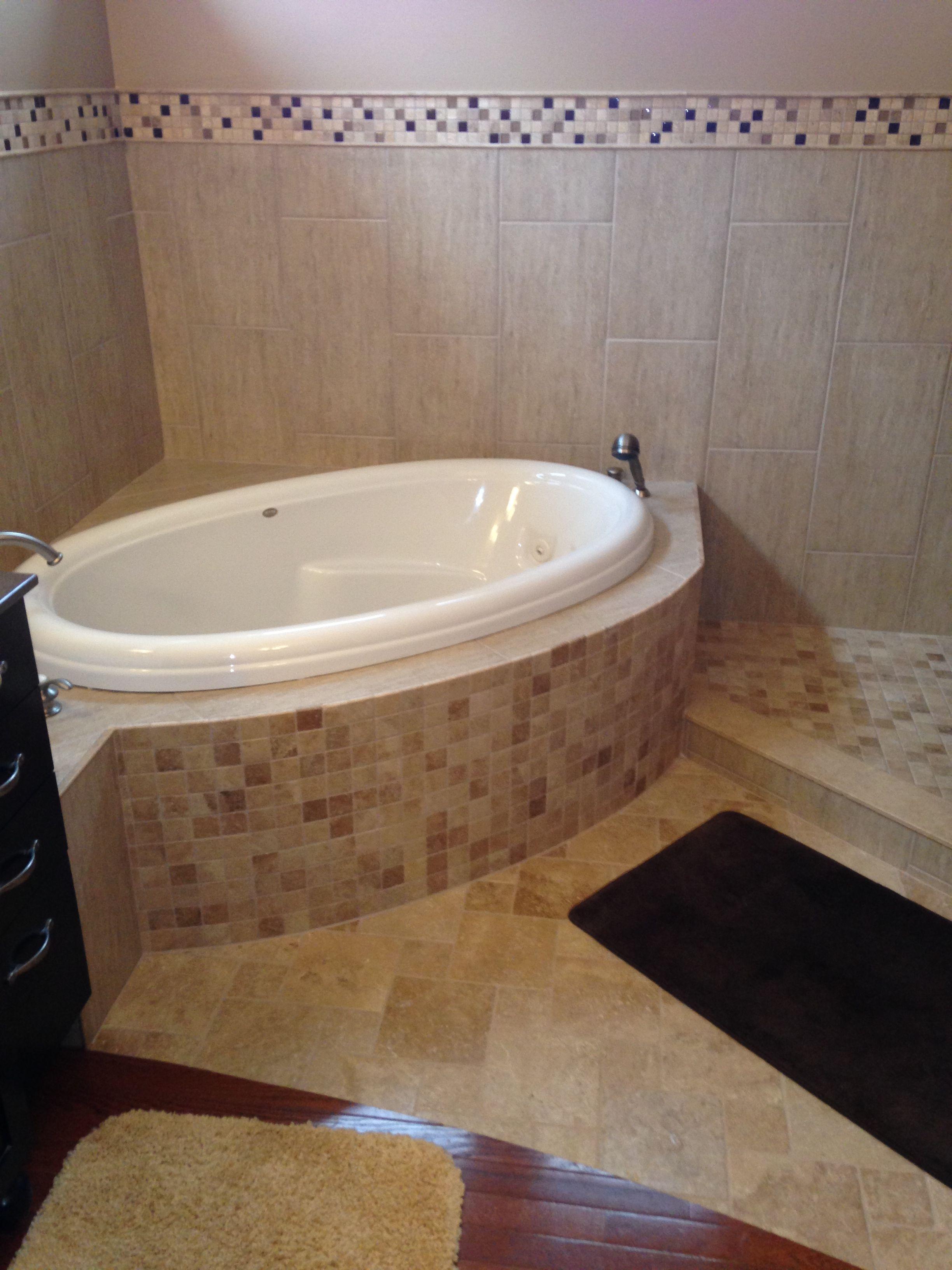 Corner tub with curved tile surround | Master Bath Remodel Design ...
