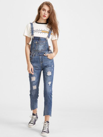 04517881a24 Blue Ripped Raw Hem Overall Jeans
