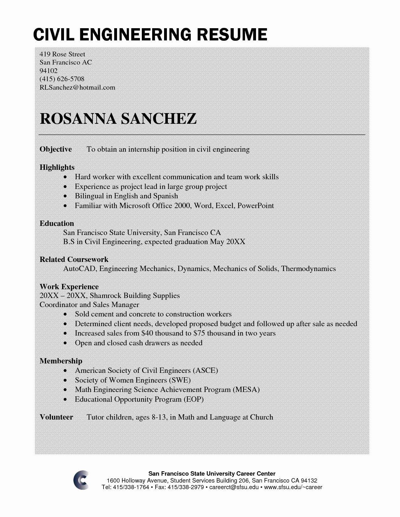 Civil engineer resume sample fresh civil engineer resume