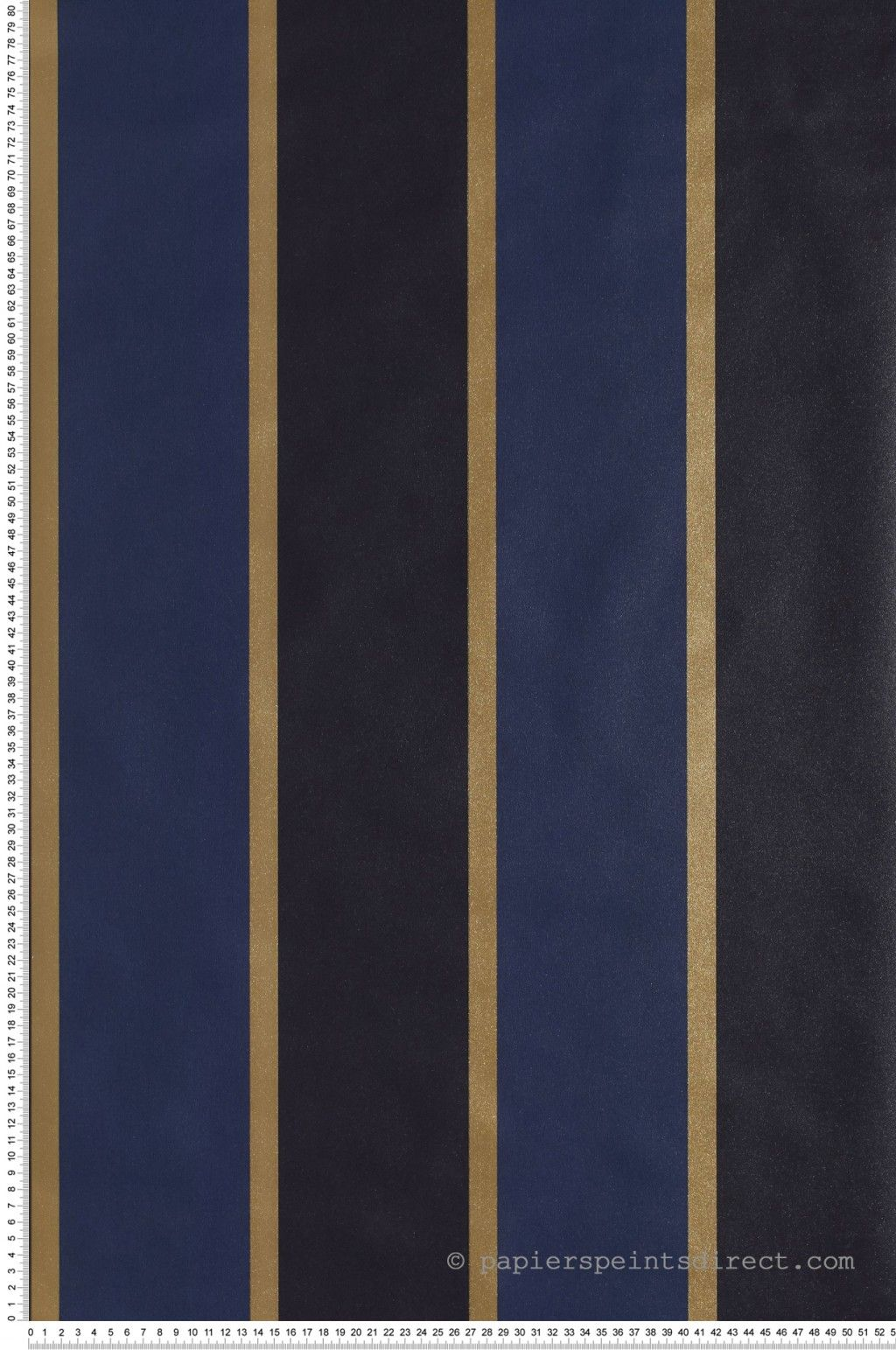 Papier Peint Deco Marine papier peint rayures larges bordées marine-or - jeux de