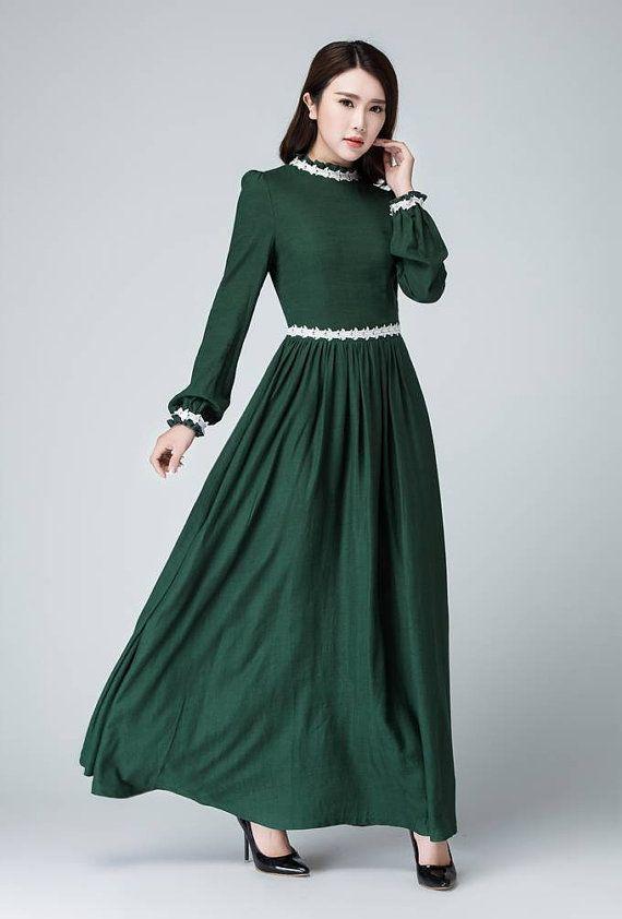Prom Dressmaxi Dress Green Dress Linen Dress Women Dress Linen Dress Women Elegant Dresses Linen Dresses