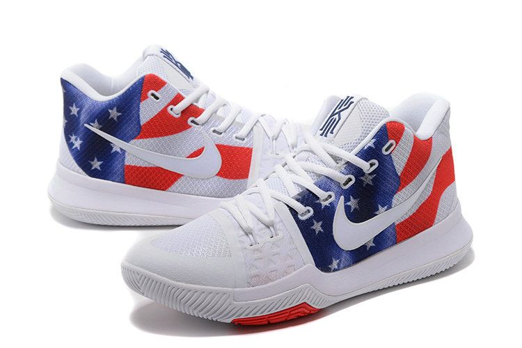 low priced 1e556 8c62c New Arrival Nike Kyrie 3 USA White Red Blue Mens Basketball Shoes 2018 For  Sale