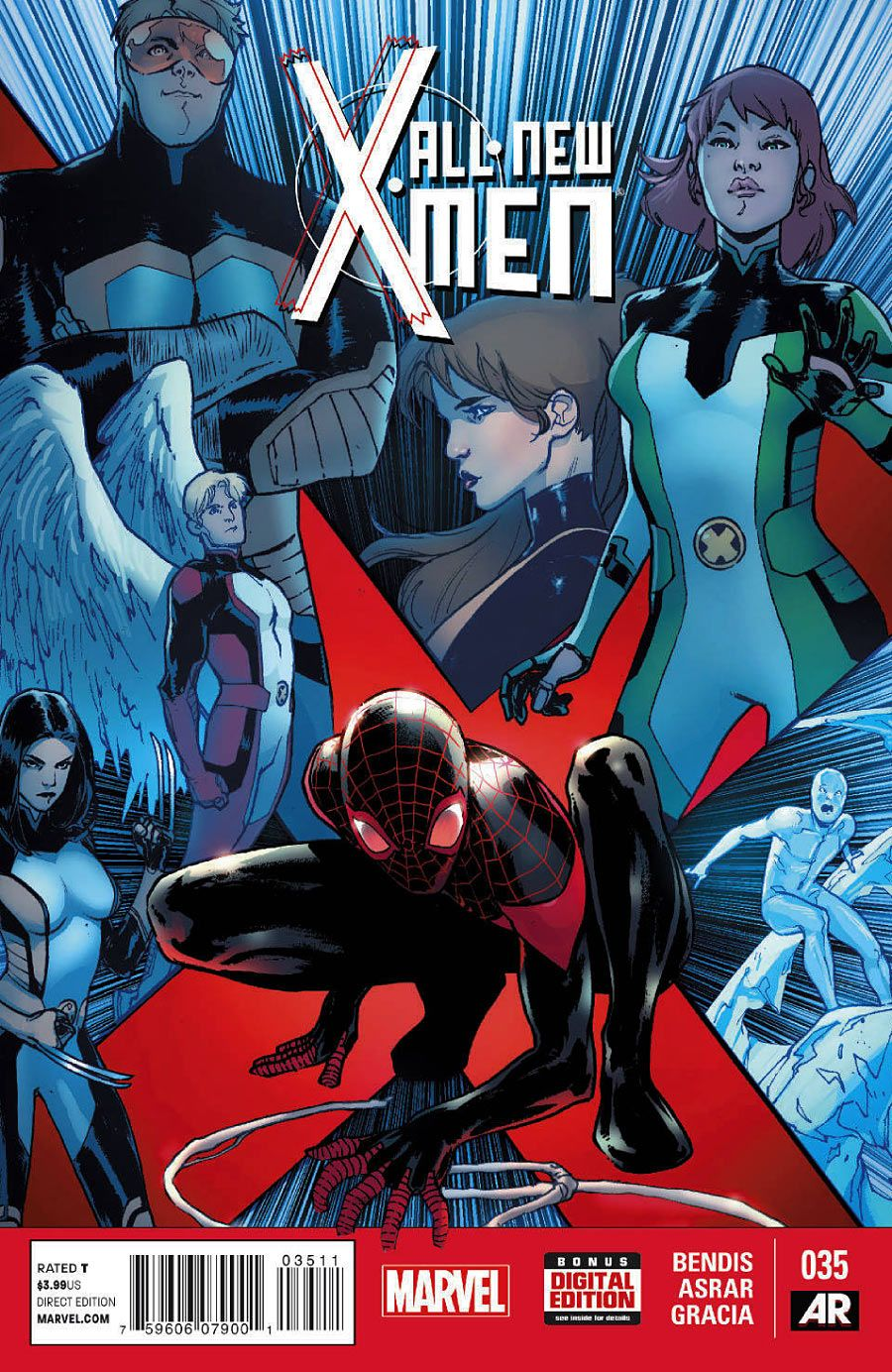 ALL-NEW X-MEN #35 … JANUARY 2015     Brian Michael Bendis (W) * Mahmud Asrar (A) * Sara Pichelli, Marte Gracia (C) … The ALL-NEW X-MEN continue their adventure in the Ultimate Universe! • Guest-starring Miles Morales and scores of other Ultimate characters! • Will either universe ever be the same again?  #AllNewX-Men