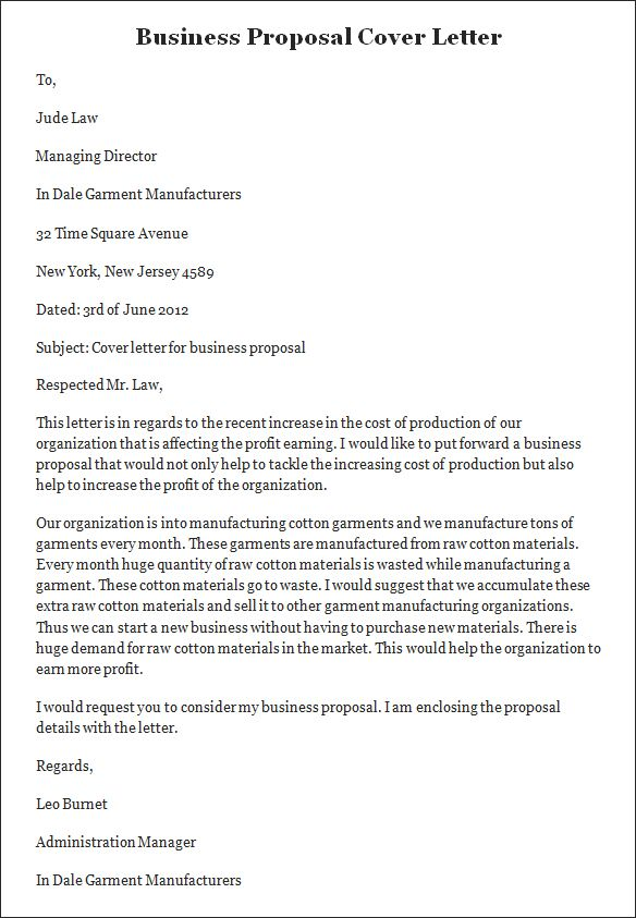 Sample Business Proposal Cover Letter Service Cleaning  Sample Proposal Cover Letter