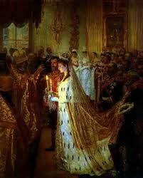 Wedding of Tsar Nicolas II and Alexandra by Laurits Tuxen - Alexandra & Nicholas were wed in the Grand Church of the Winter Palace of St Petersburg on 26 November, 1894.  Alexandra became Empress of Russia on her wedding day, but the coronation was not until 14 May 1896.