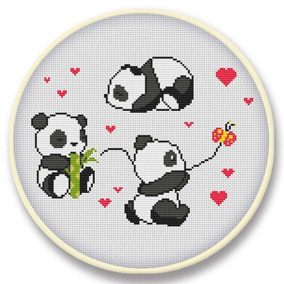 Instant digital download  Counted cross stitch pattern by Subykun, $4.50 #babypandas