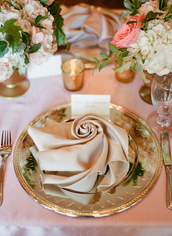 The Vault Curated Refined Wedding Inspiration Style Me Pretty Napkin Folding Rose