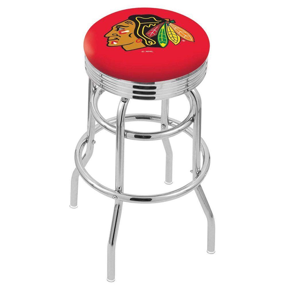 Chicago Blackhawks Red Retro Swivel Bar Stool