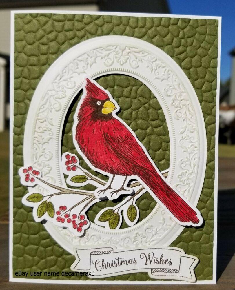 christmas card kit handmade set of 4 stampin up toile