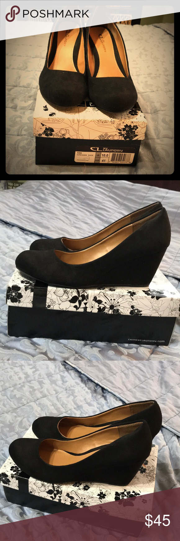 2e312862397 CL by Laundry NIMA Wedge Pump Suede. Worn once! Black suede wedge pumps. I  forgot I had them in my closet! Chinese Laundry Shoes Wedges