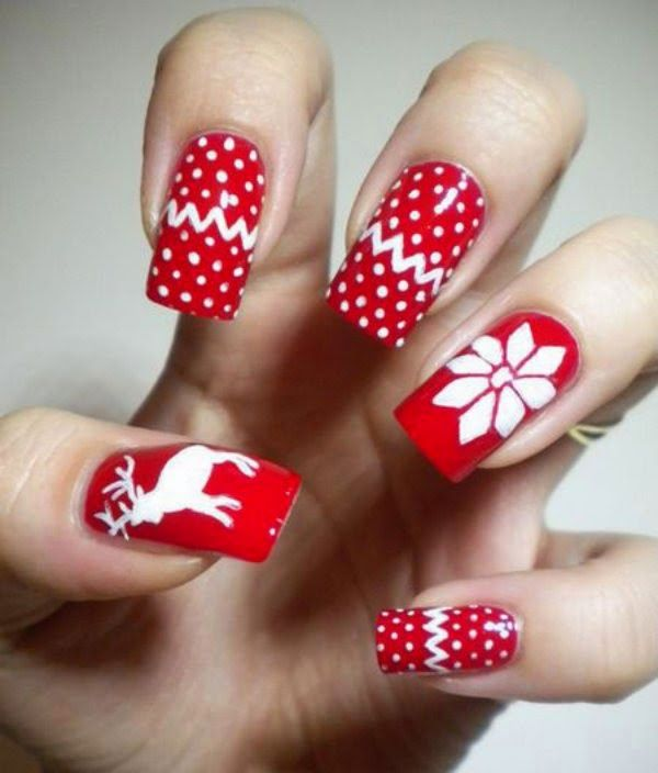 Red and white new year 2017 nail polish designs uas navidad easy 2014 christmas nail art for short nails reindeer and snowflake 2014 christmas nail art for short nails christmas love it by loveitsomuch prinsesfo Images