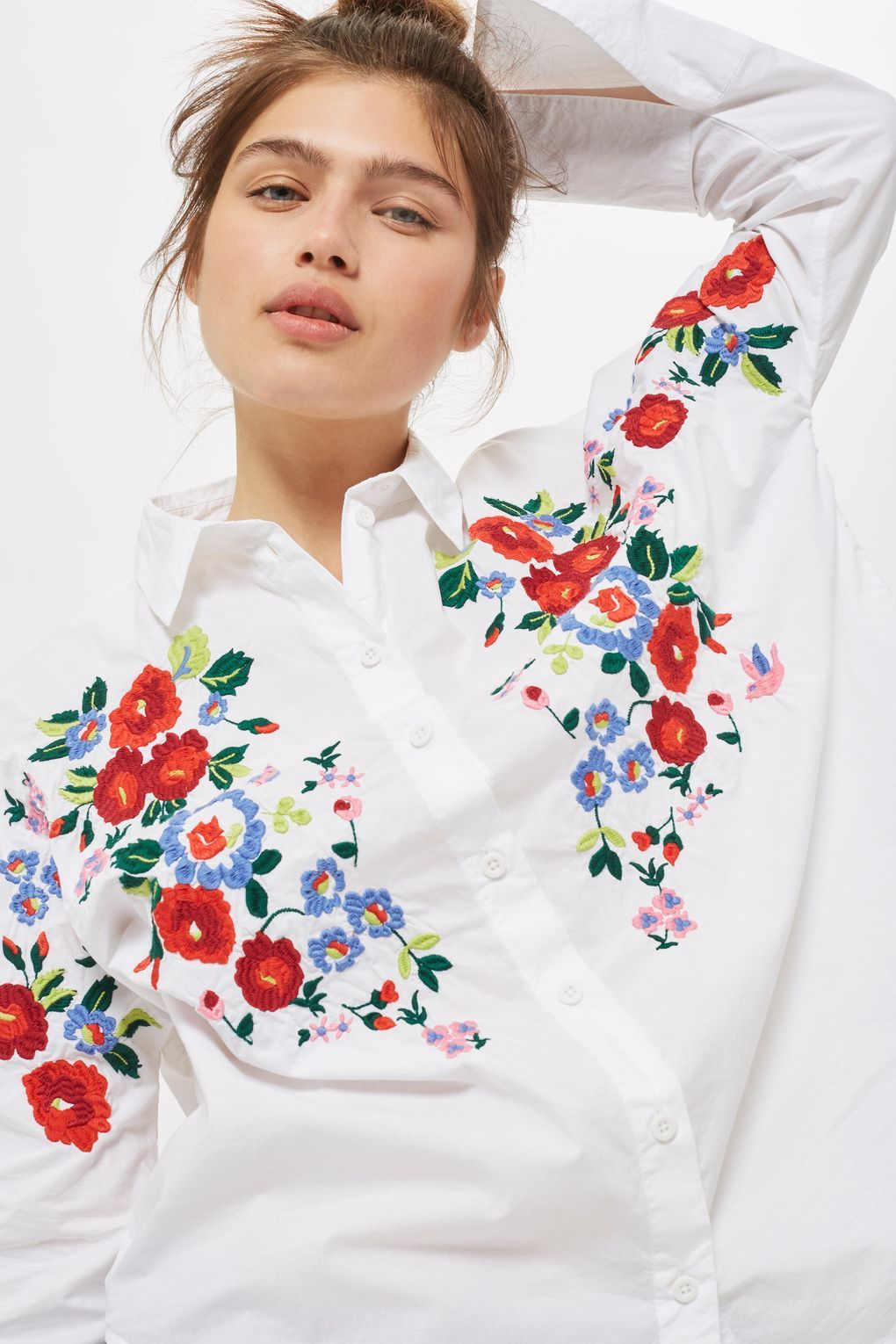 b13acce376d20a Embroidered Poplin Shirt - Tops - Clothing - Topshop USA