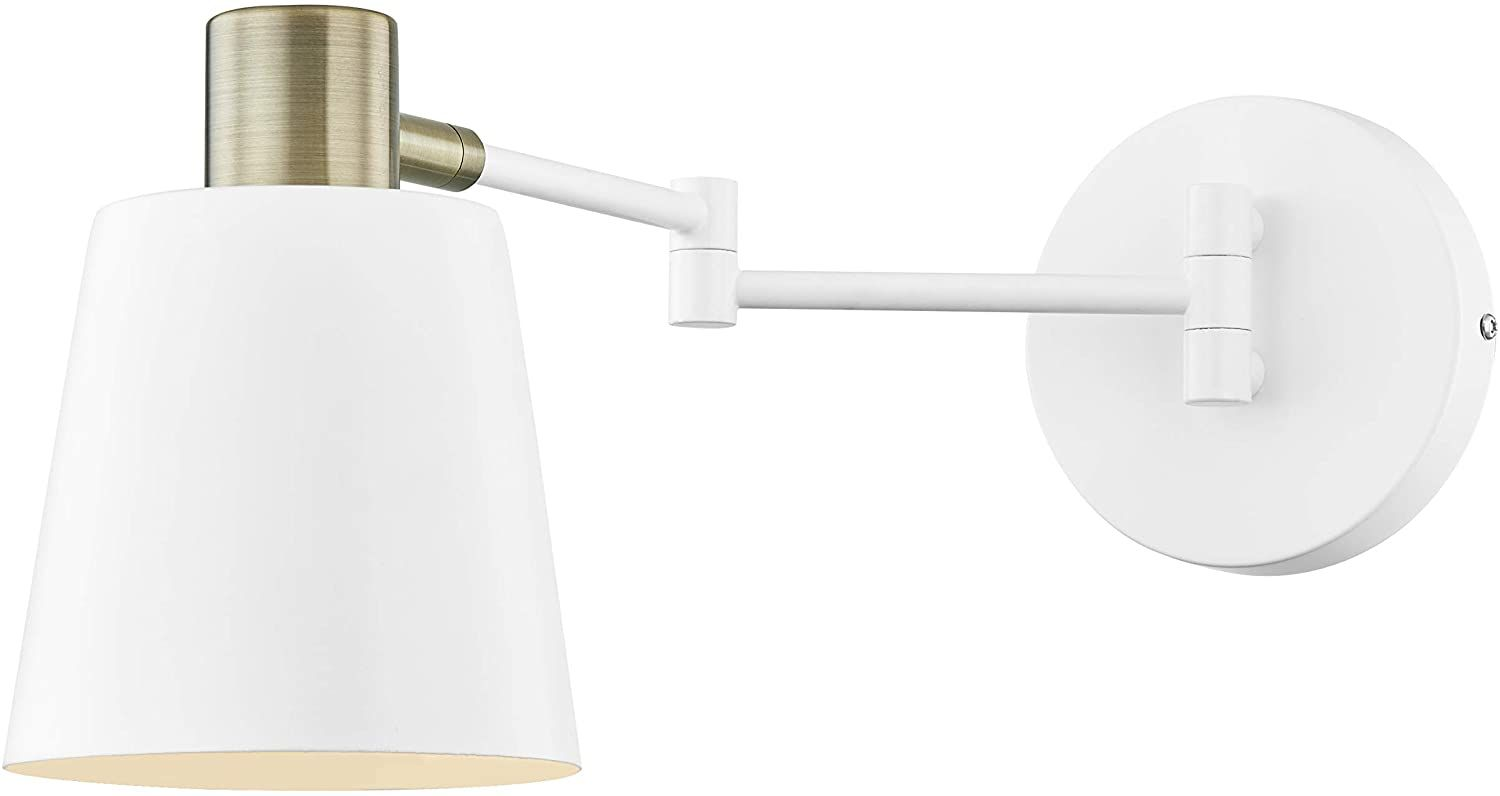 Light Society Ls W306 Wh Alexi Wall Sconce In Matte White With Swivel Arm And Brass Details Modern Contemporary Lo In 2020 Loft Style Modern Contemporary Wall Sconces