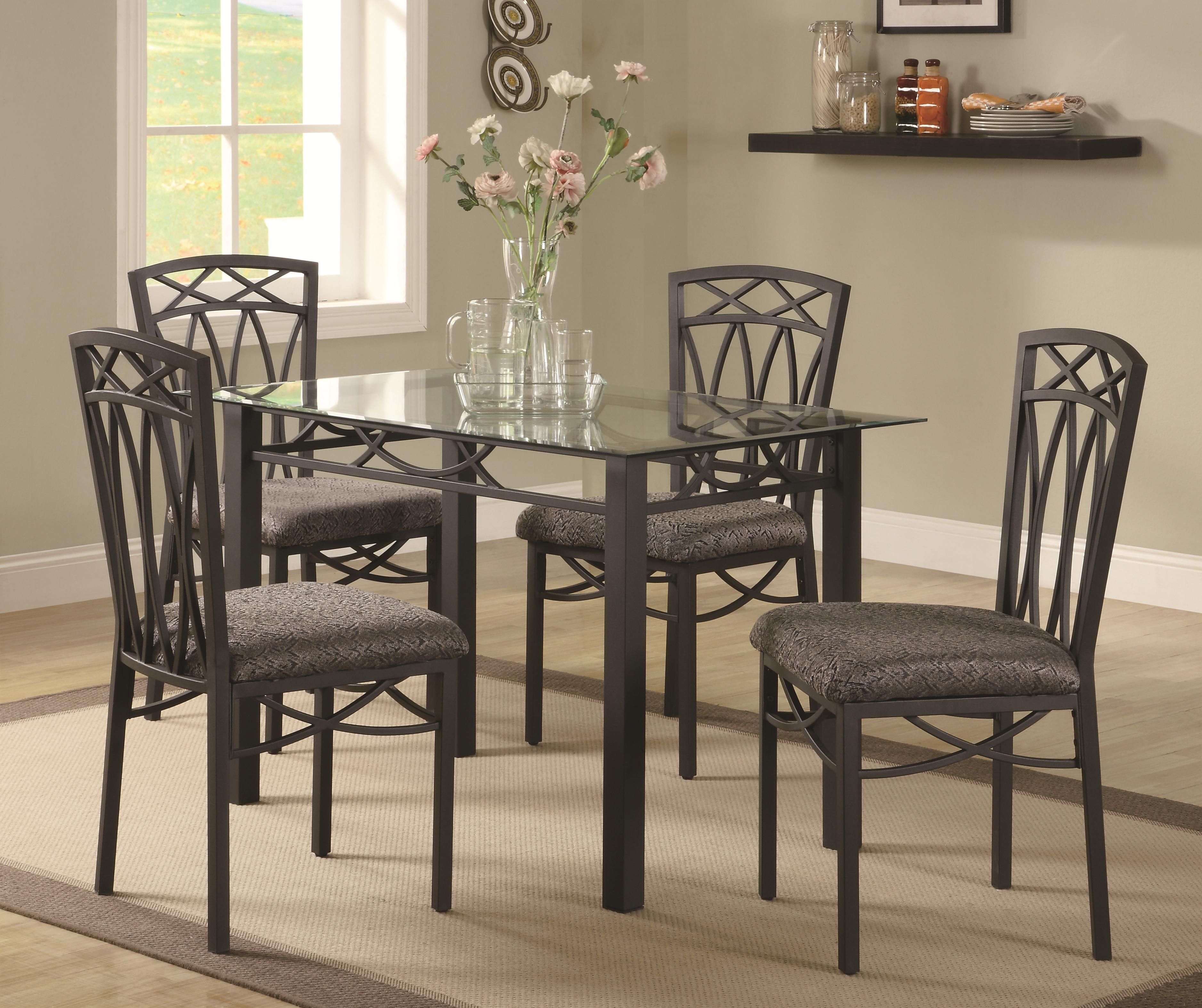 Cheap Glass Dining Room Sets: Blake 5 Piece Dining Table Set By Coaster At DREAM HOME