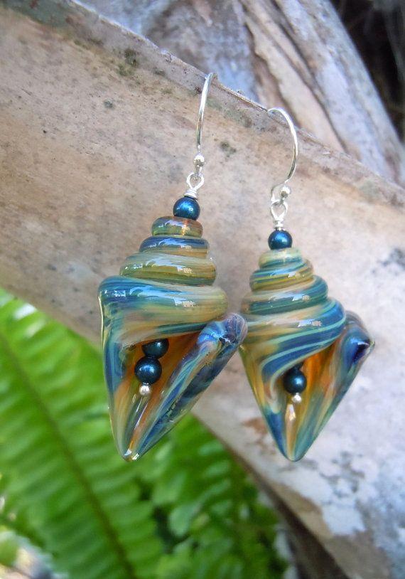 Island Morning Mocha Lampwork Glass Shell Earrings