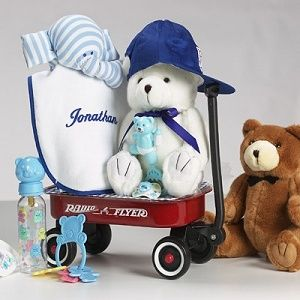 A classic Radio Flyer Wagon full of all these baby necessities!  Available in pink too!  http://www.takeastroll.com/bgcwelcomewagon.htm