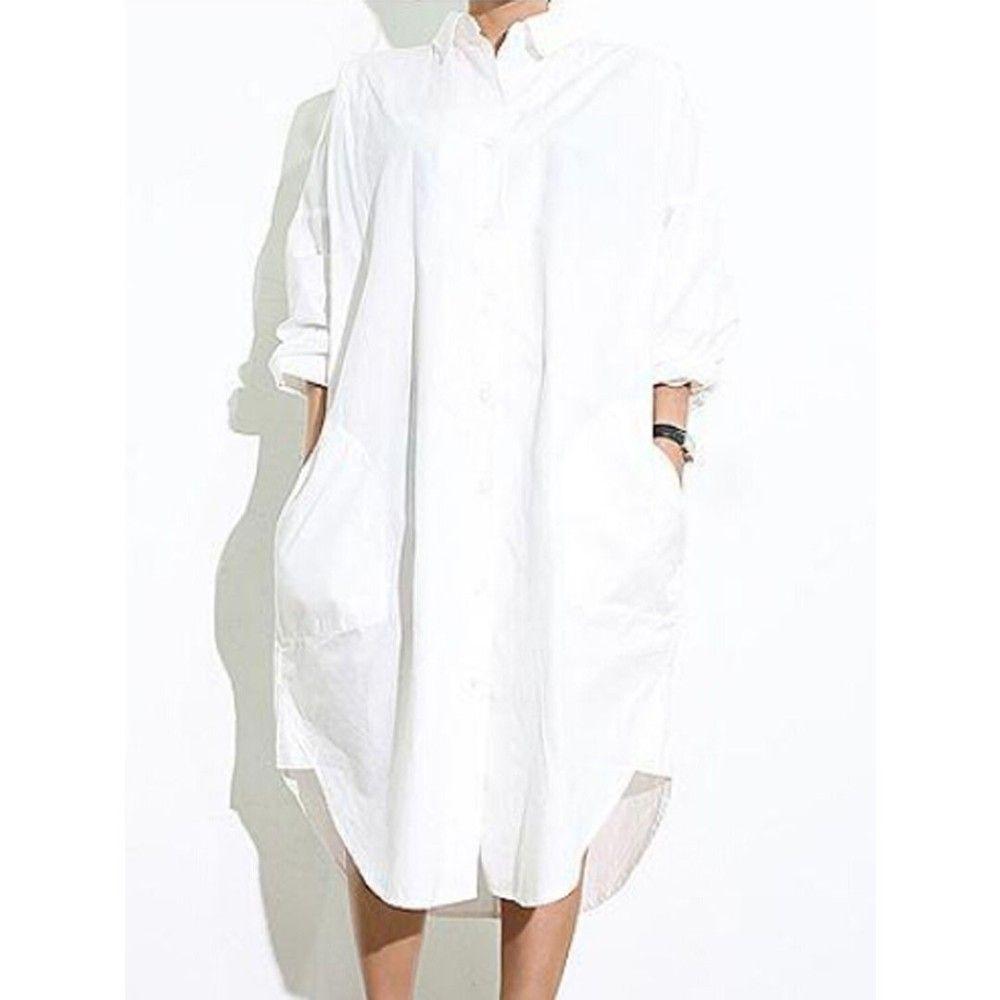 Long White Blouse Dress