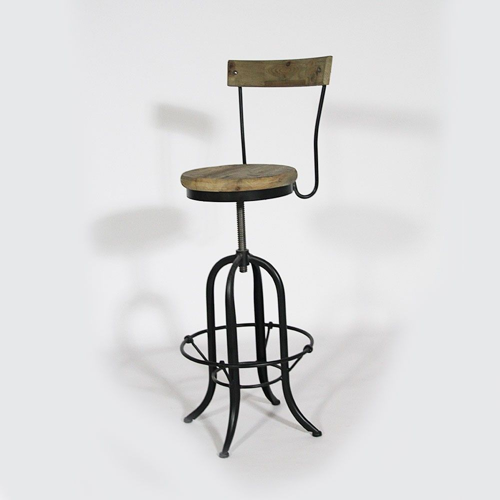 tabouret de bas modulable avec dossier en bois et m tal. Black Bedroom Furniture Sets. Home Design Ideas