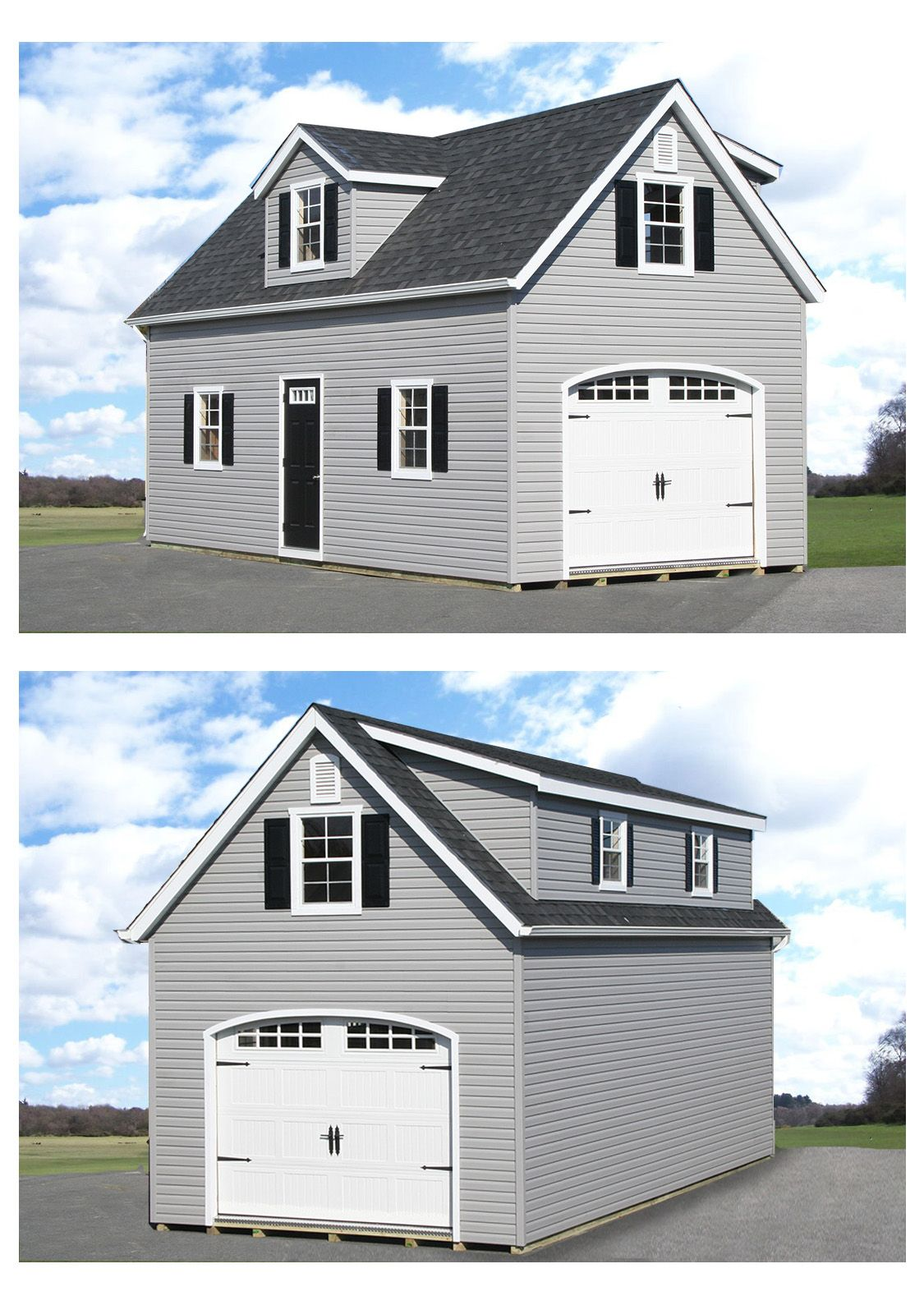 One Story Hip Roof Addition Ideas To Two Story Farmhouse: Add Dormers To Your 2-story Garage! Not Only Looks Great But Adds A Ton Of Space As Well. The