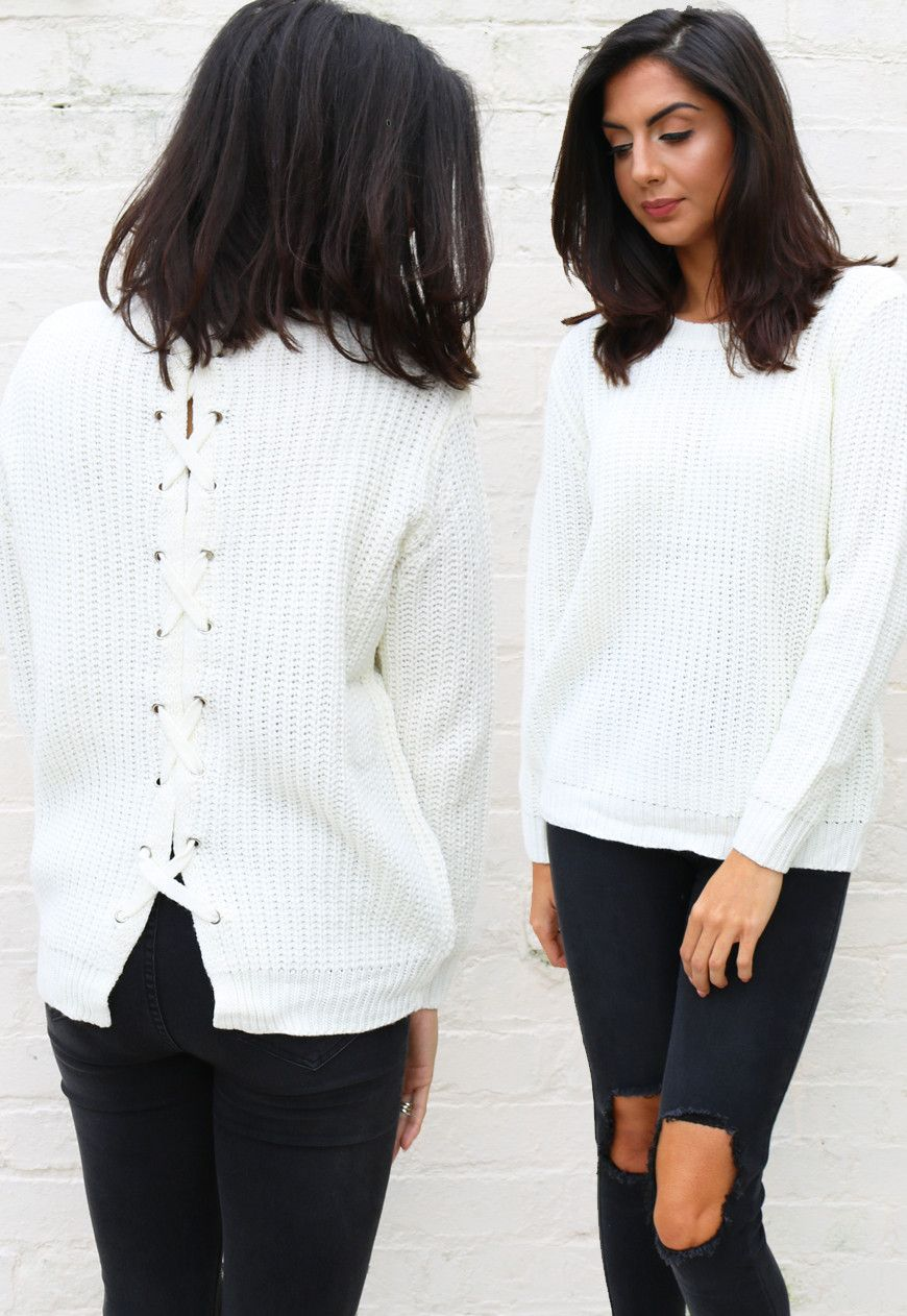 9faa57c12431 Women Chunky knit jumper with lacing detail