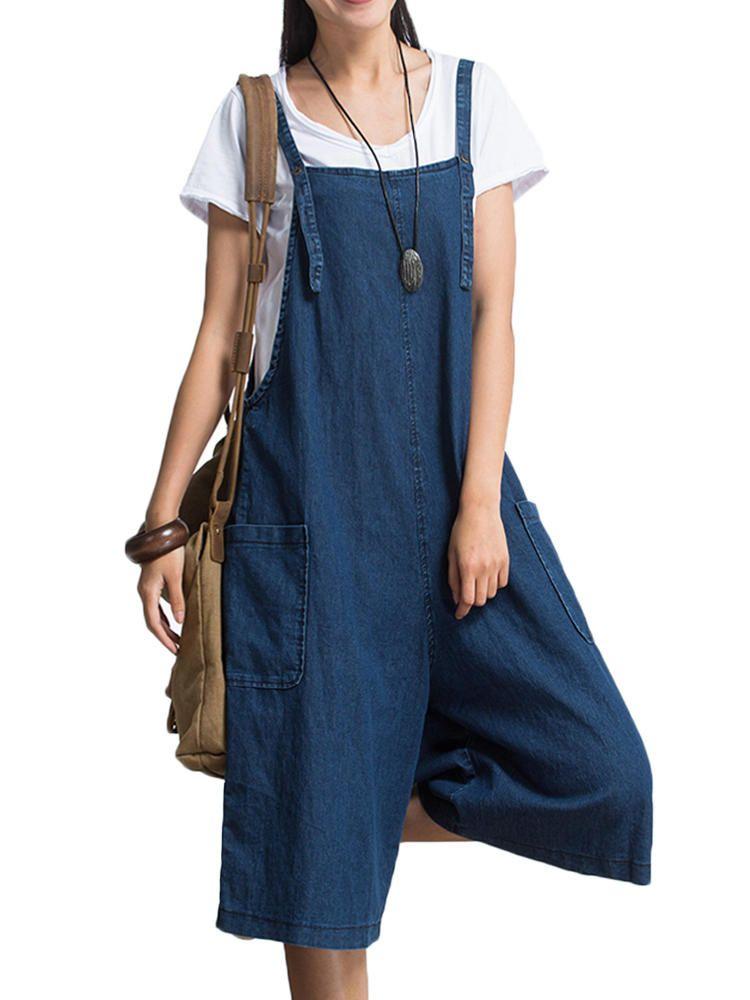 c92b6f5815 Only US 20.01 shop s-5xl plus size women loose denim blue strap pocket  jumpsuit trousers at Banggood.com. Buy fashion jumpsuits   playsuits online.