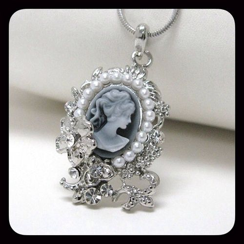 White gold plating cameo necklace. Starting at $1 on Tophatter.com!