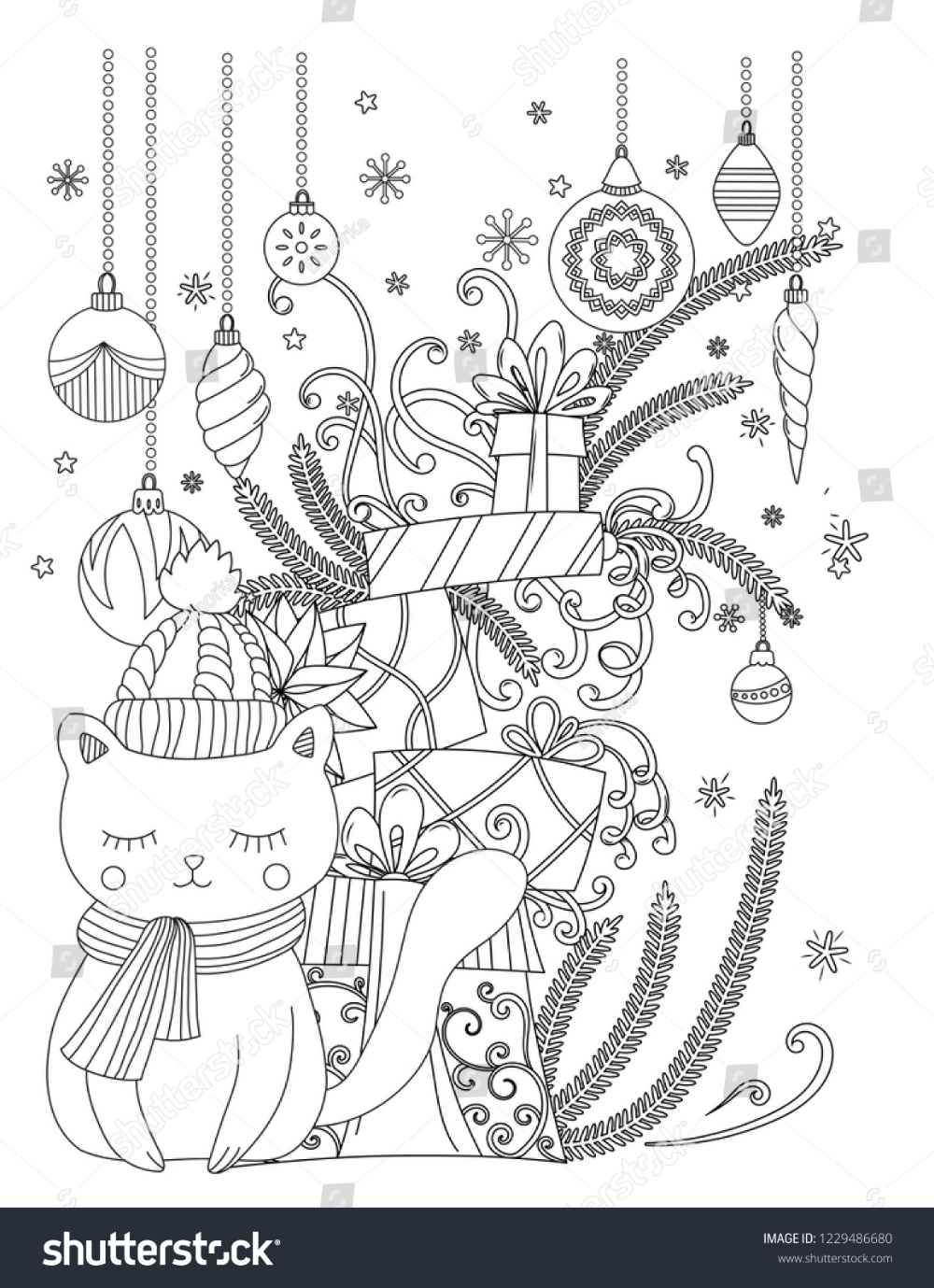 Christmas Coloring Page Kids Adults Cute Stock Illustration 1229486680 Holiday Coloring Book Free Christmas Coloring Pages Coloring Pages Inspirational