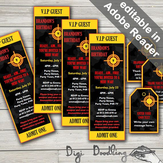 Nerf Party Invitations And Free Nerf Party Favor Bag Tags