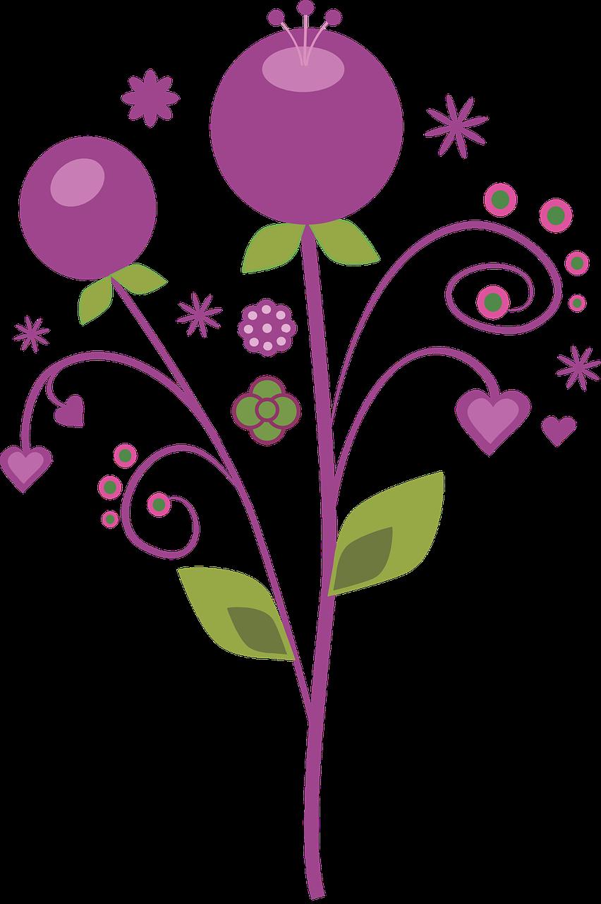 Purple, Vector, Flowers fantasy berry swirls