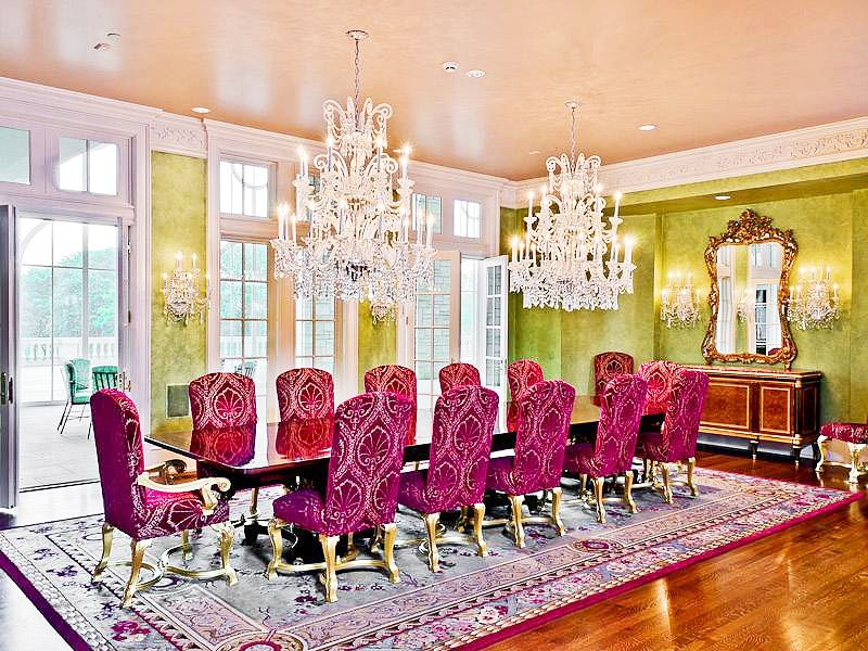 Love how they took fun colors like hot pink and lime green and still made this dining room SO elegant!         The Champ d'Or Mansion #architecture #luxury #design #decor #French #Dallas #chandelier #chairs #gold #mirror #table #crystal