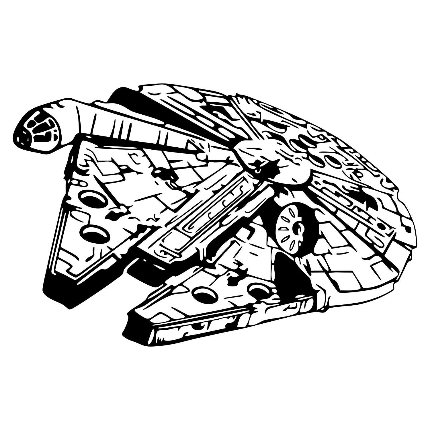 millennium falcon star wars graphics svg dxf eps png cdr ai pdf vector art  clipart instant download d… | star wars stencil, star wars silhouette, star  wars stickers  pinterest