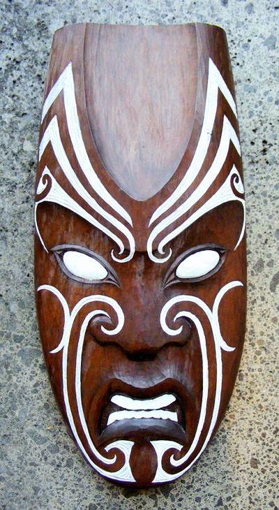 Matt Smiler Kura Gallery Maori Art Design Aotearoa New Zealand Carving  Totara Male Mask White Moko