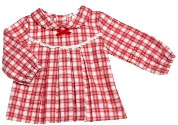 c0f5d8310 Blusón para niña a cuadros rojos y blancos con cuello a bebé ...
