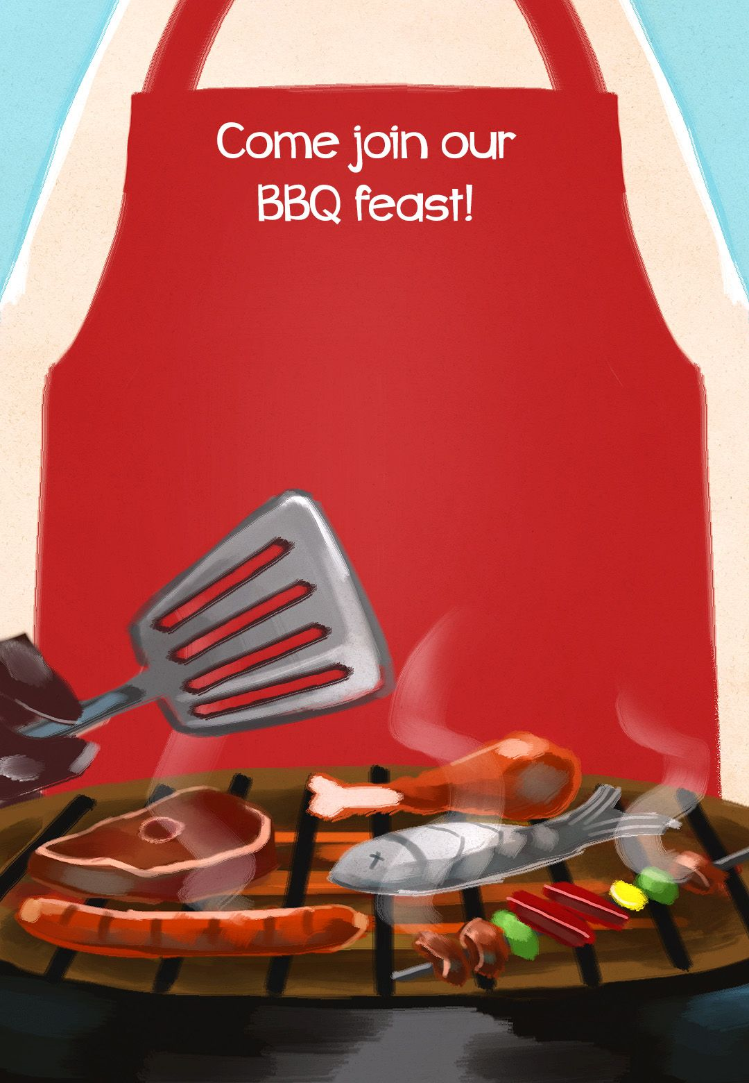Bbq Feast Free Printable Party Invitation Template