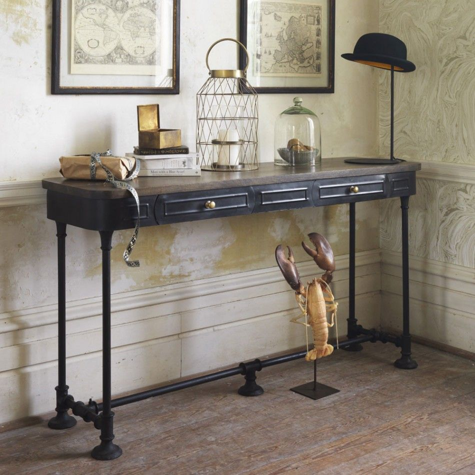 Black metal console table decor pinterest console tables black metal console table geotapseo Choice Image