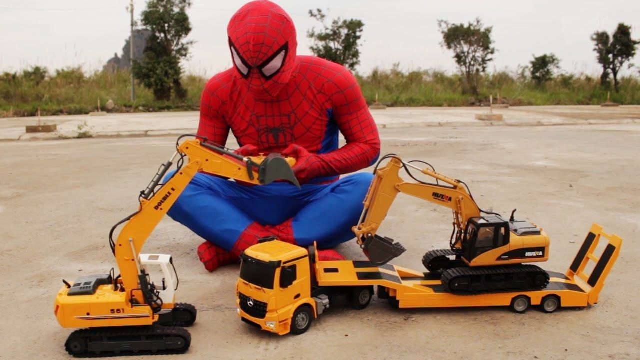 construction trucks for children w spiderman hulk play rc