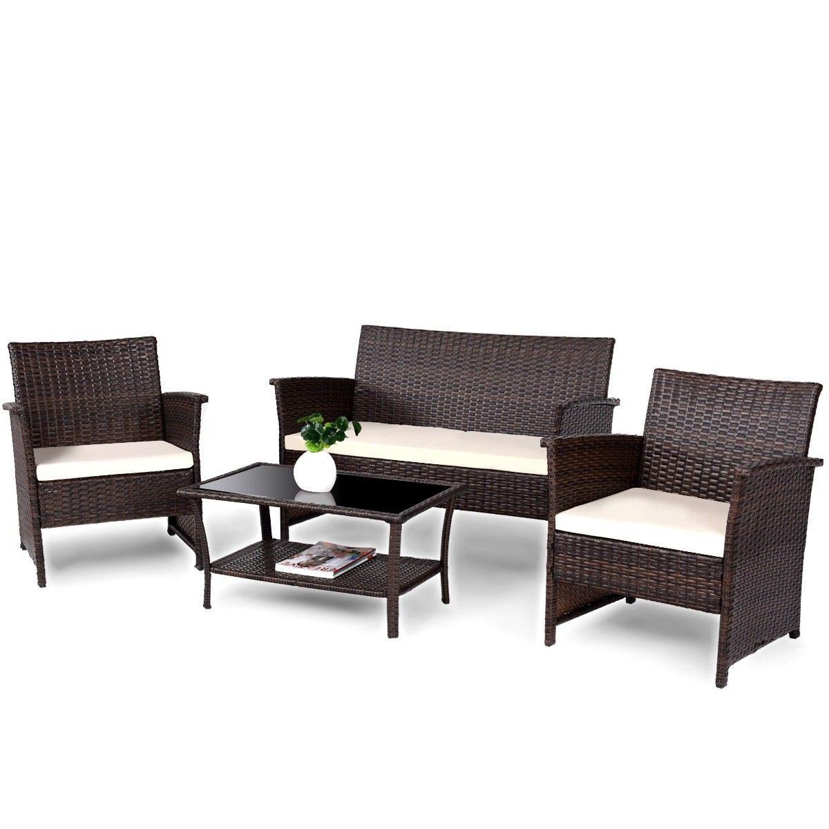 4 pcs Outdoor Patio Rattan Furniture Wicker Sofa Set ...