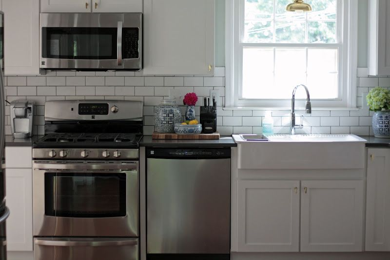 the long and short of it: Kitchen Renovation: Before & After stainless, subway tile, farm house sink @Jessie Short