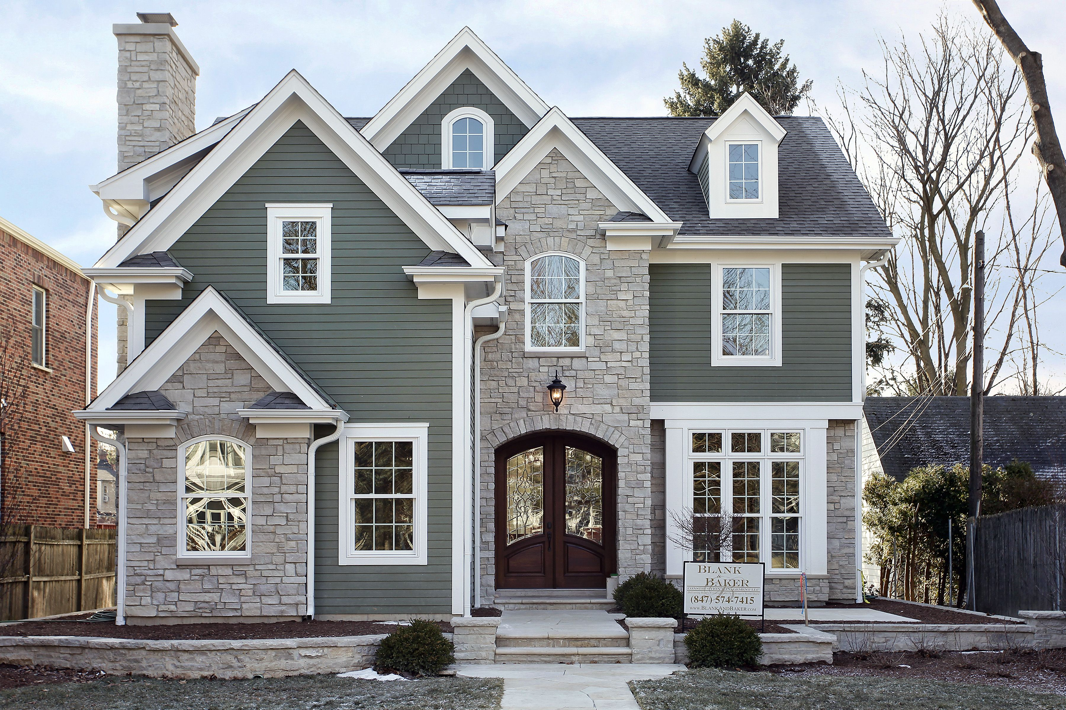 Custom Home Built In The Heart Of Winnetka Features James Hardie Siding And A Natural Stone