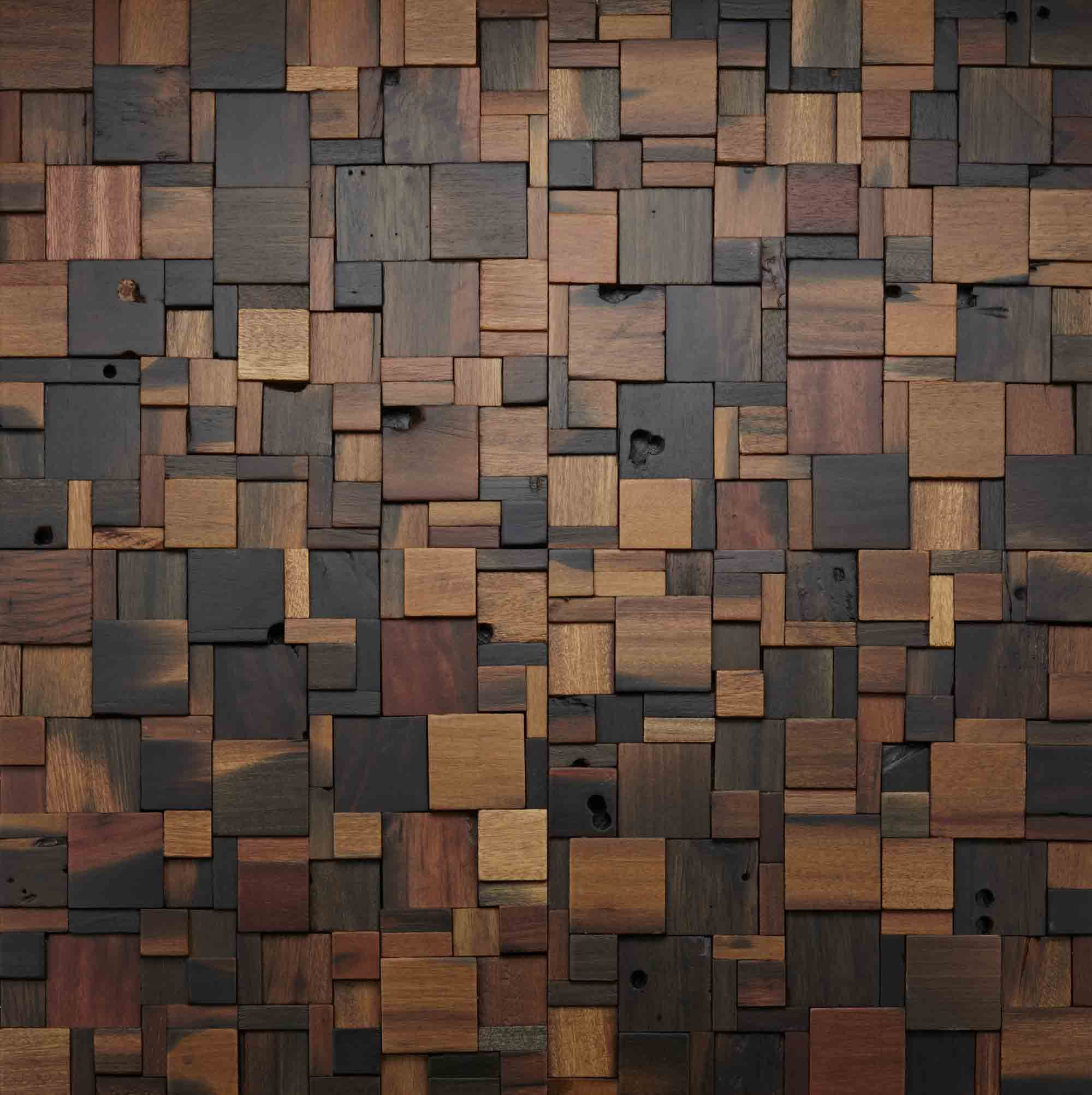 Stacked square wood wall design woodwall walldesign for Interior texture paint designs