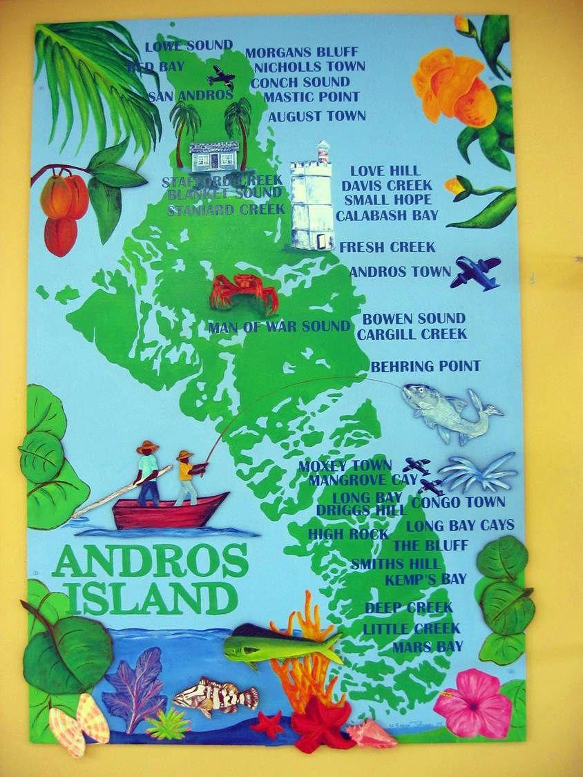 Andros Island Bahamas North American Caribbean Travel Maps