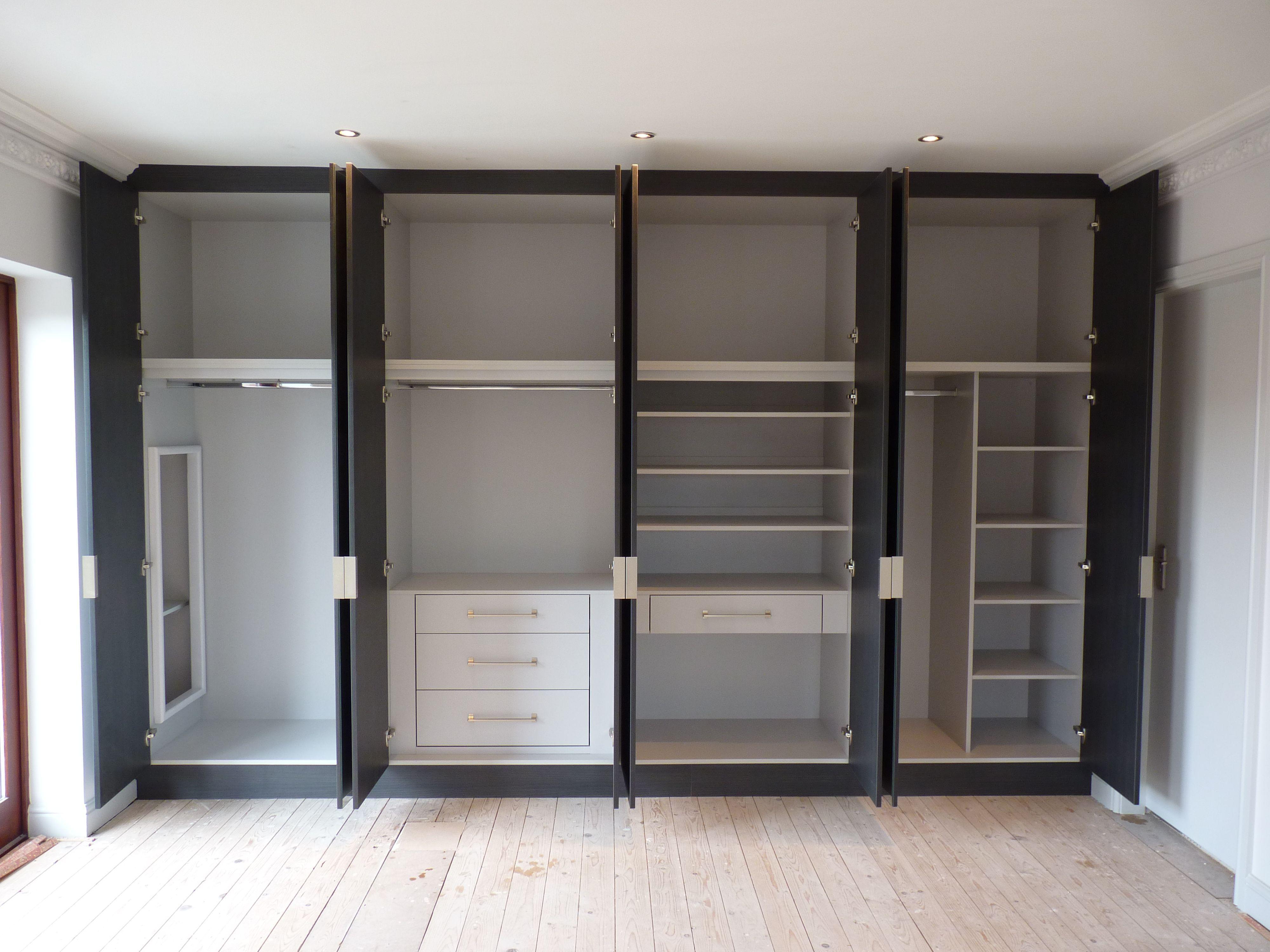 White gloss acrylic built in wardrobe with sliding door cabinet internal design also rh pinterest