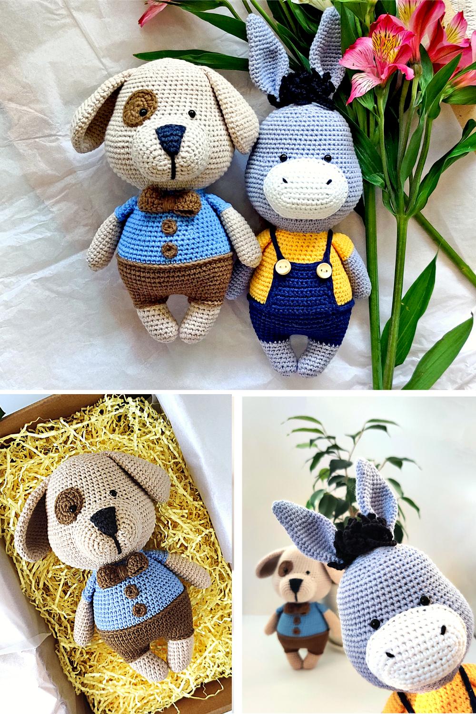 Crochet Donkey and Puppy amigurumi pattern