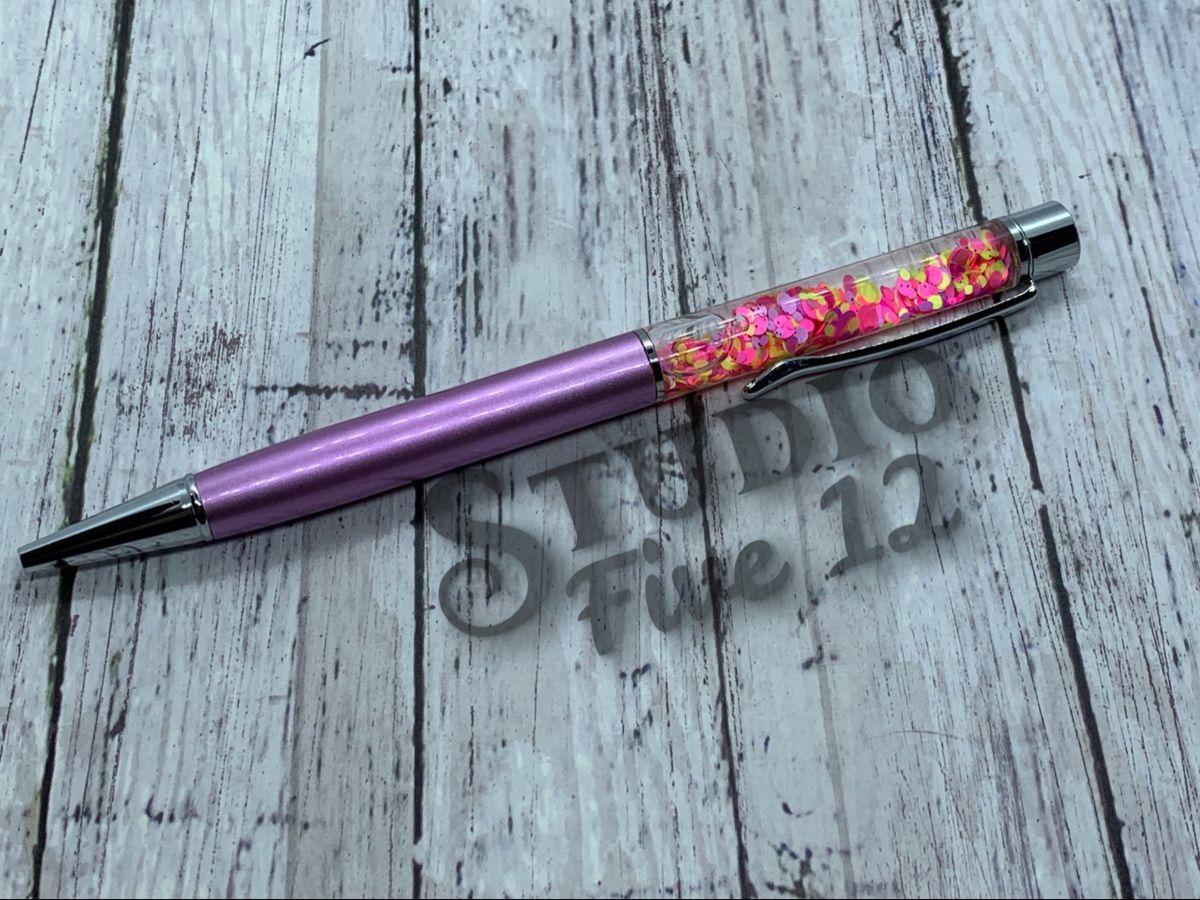 Floating fillable glitter pens light purple